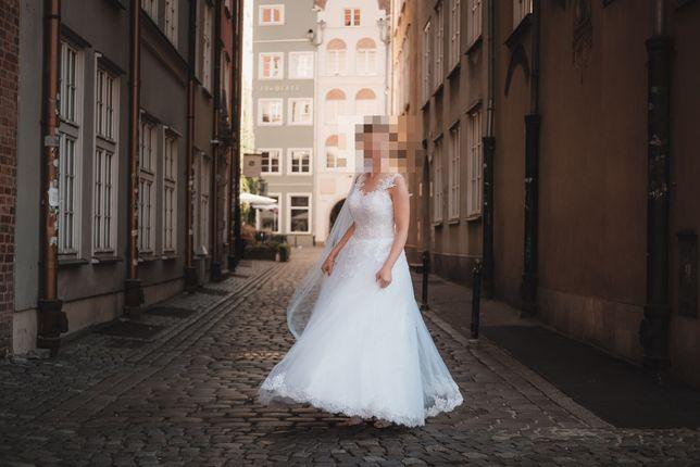 Suknia ślubna biała rozmiar 36-38 + welon gratis!!