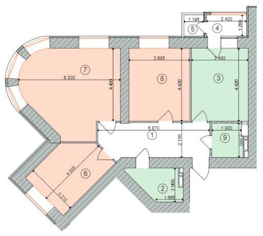 Продам 3к квартиру 100м2 в сданном доме ЖК Голосеевская долина