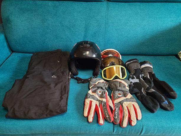 """Kask, 3x gogle, spodnie narciarskie, """"żólw"""", rekawiczki, skarpety"""