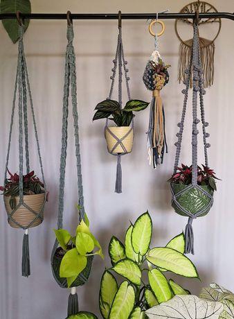 Makrama kwietnik na rośliny doniczki dekoracje boho vintage