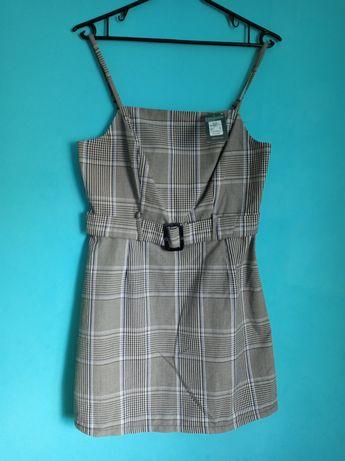 Primark Nowa Szara sukienka w kratkę na ramiączkach z paskiem
