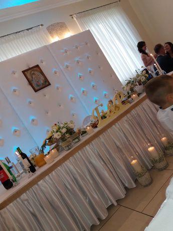 Ściana slub wesele stół młodych dekoracje