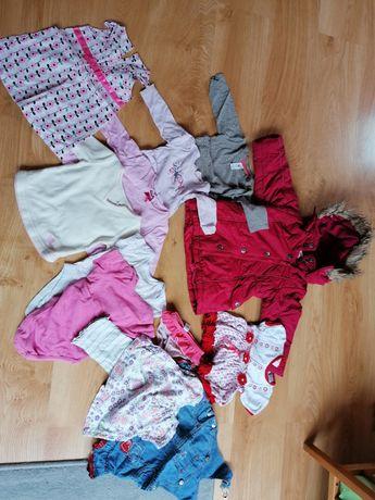 Ubranka dla dziewczynki 74 plus kurtka zimowa 86