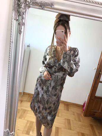 Sukienka w piórka na jesień midi piękna unikatowa elegancka XS 34