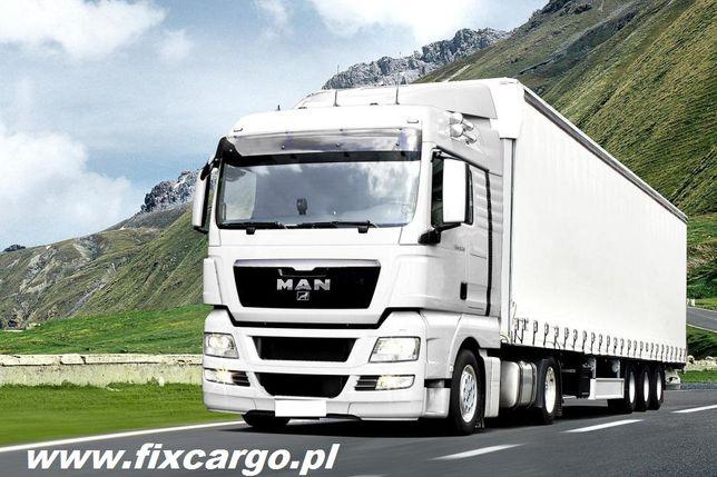 Transport TIR 1-24t ciężarowy firanka platforma 13,6m solo bus Kalisz