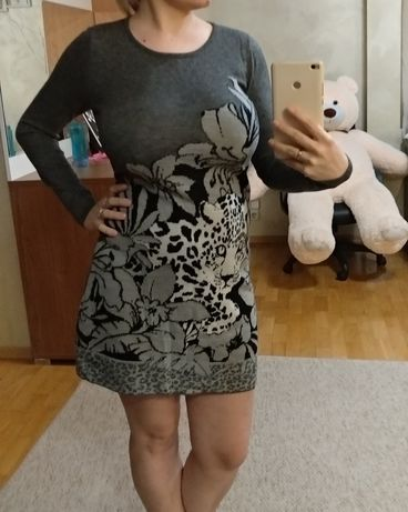 Женское полутеплое вязаное платье EdHardy by Christian Audigier
