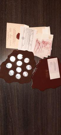 Zestaw monet srebrnych Wielkie Bitwy Polaków certyfikaty + książki