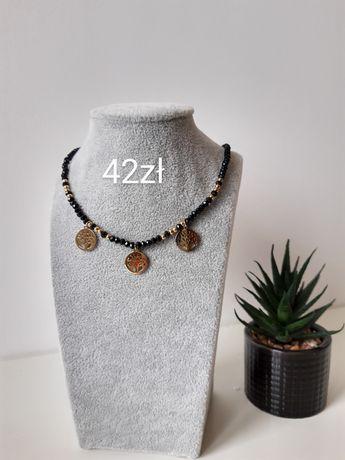 Naszyjnik czarny koralik drzewko szczęścia 316L