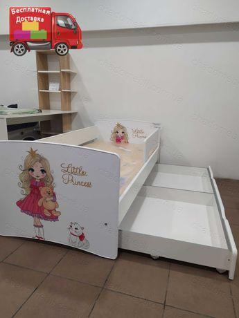 Детская Кроватка с Бортиком для Девочки /Кровать для ребенка с ящиком