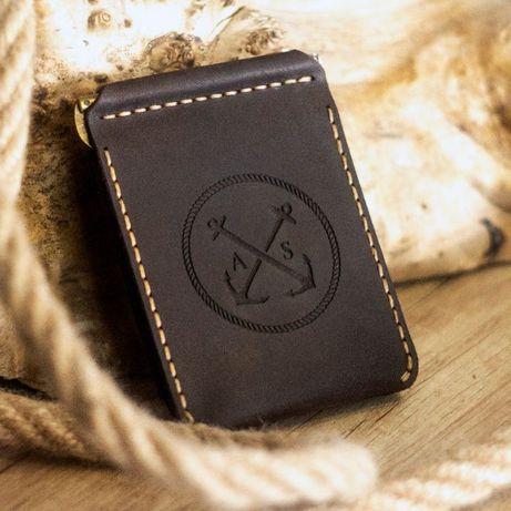 Тонкий кошелёк, Портмоне - Зажим для денег (Натуральная кожа, Италия)