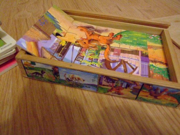 Puzzle drewniane - zwierzątka + Piramida układanka gratis