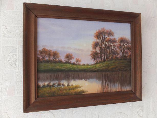 Obraz olejny na płótnie z drewnianą ramą-oryginał