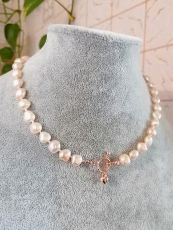 Красивое стильное колье чокер ожерелье бусы из натурального жемчуга