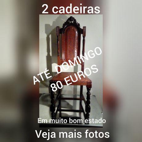 2 cadeiras madeira e couro 80 EUROS em BEJA