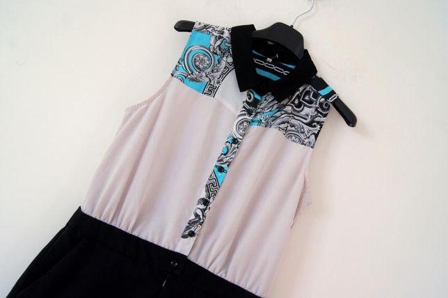 czarny szary niebieski elegancki kombinezon 38 M 40 L krotki spodnie