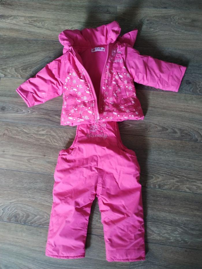 Kombinezon zimowy, dziewczynka 6 miesięcy, dwuczęściowy, różowy, polar Brodnica - image 1