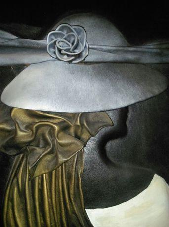 """skórzany obraz 3D """"dziewczyna w kapeluszu""""; 40cm x 50cm"""
