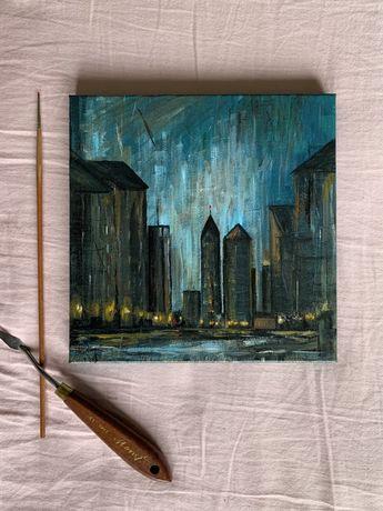 Авторская Картина-миниатюра «Дождь»