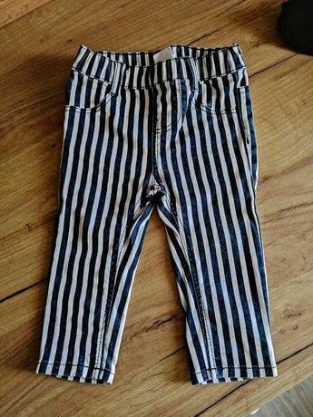 Spodnie jeansowe HEMA 74 rurki w granatowo białe paski