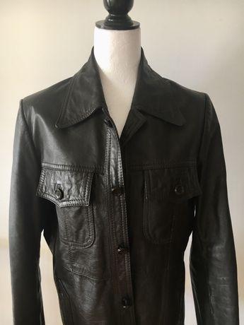 Casaco de pele vintage preto - L - €59.00