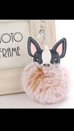 Buldog francuski brelok do obag przywieszka Naturalny królik