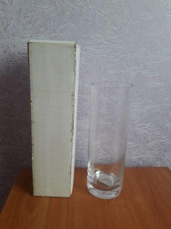 Стеклянная ваза, стекло, новая, прозрачная, в коробке