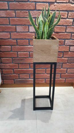 Kwietnik stojak na kwiaty loft industrial drewno metal