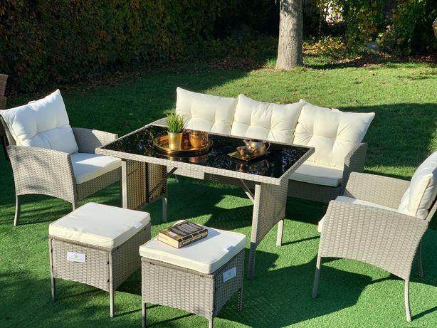 meble technorattan Modena popiel sofa stół fotel zestaw mebli