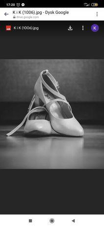 Srebrne buty ślubne na słupku Brilu rozm 36