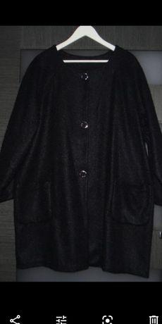 Elegancki granatowy płaszcz r.52