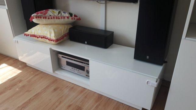 Biała szafka RTV połysk meble salon regał biały pod telewizor