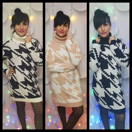 Maxi golfy długie swetry S M L XL OVERSIZE sukienka