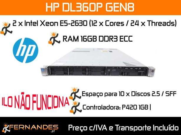 HP DL360P G8 | 2 x E5-2630 ou seja 24 vCPUs | 16GB RAM |