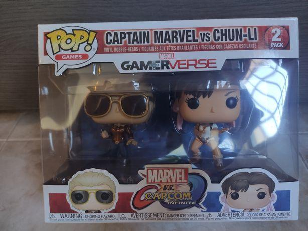 Funko pop pack de dois - capitã Marvel e Chun-li