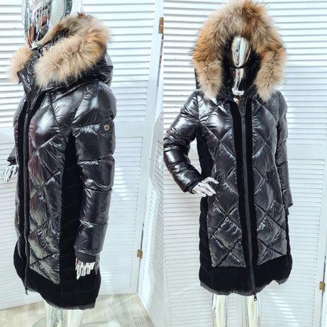 długa kurtka płaszcz pikowana czarna futro naturalne zimowa L