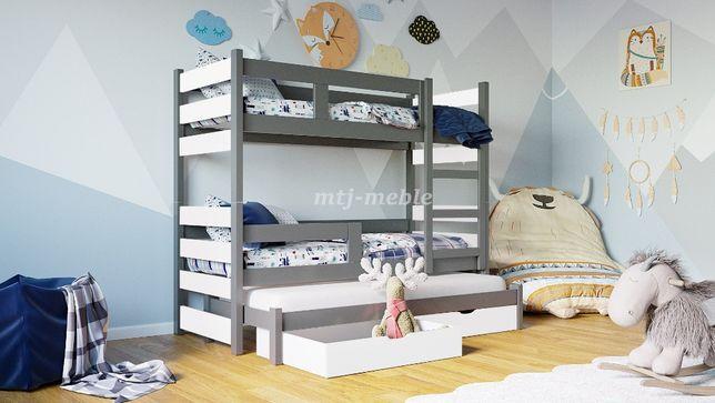 Sosnowe łóżko piętrowe TOSIA dla 3 osób! Materace w Zestawie!