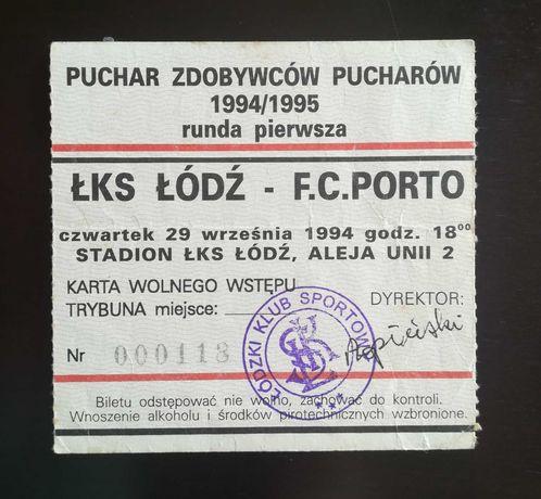 Bilhete LKS Lodz x Porto 1994/95