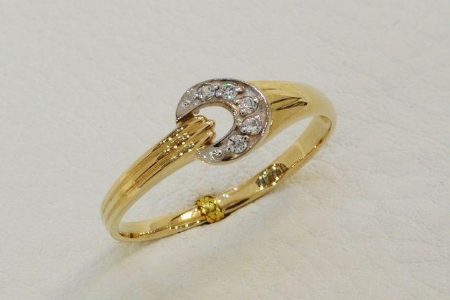Złoty pierścionek z cyrkoniami 585 r. 20,5 -CHORZÓW- Zapytaj o rabat!