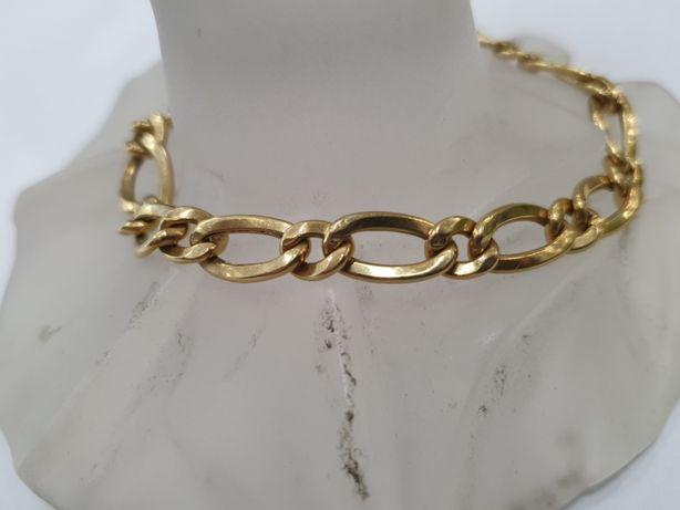 Piękna złota bransoletka męska/ Figaro/ 750/ 10.1 gram/ 21cm/ Dmuchana