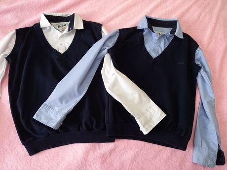 Школьная рубашка обманка для мальчика    размер 128-134