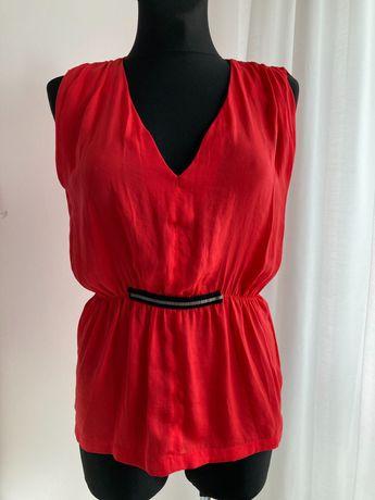 Bluzka ZARA S 36 czerwona piękna dekolt w serek bez rękawów
