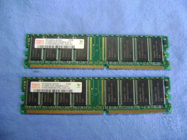 Модуль памяти 2 шт. - Hynix PC3200U-30330 ( 512 Mb ) обе за 100