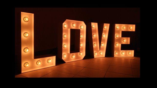 Napis LOVE żarówki ściemniacz dimmer