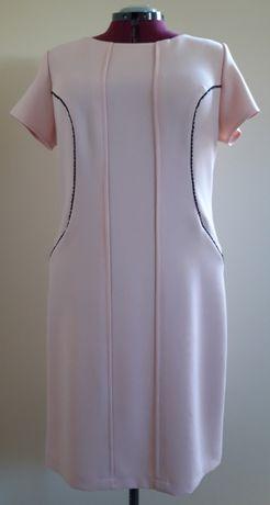 elegancka sukienka pudrowy róż rozmiar 48 krótki rękaw