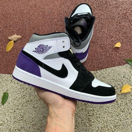 Кроссовки Nike Air Jordan 1 Mid SE Varsity Purple Джорданы пурпурные