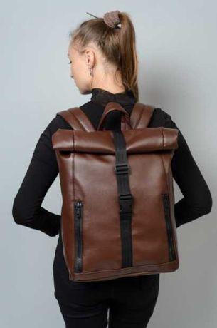 Коричневый женский рюкзак экокожа, школьный, подростковый