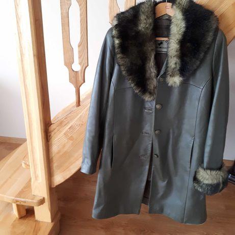 Płaszcz/skóra kolor zielony