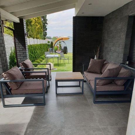 Solidne meble ogrodowe, na taras Anthracite Beech - kanapa + 2x fotel