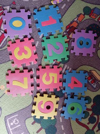 Puzzle piankowe literki cyferki duże małe