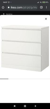Vendo Cómoda c/3 gavetas, branco80x78 cm  , rigorosamente Estimada